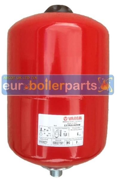 EV.110 Varem 8 Litre Red Heating Expansion Vessel